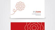 Tarjeta personal minimalista con flor roja