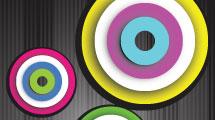 Tarjetas con círculos y señales
