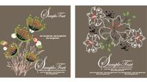 Tarjetas con flores lineales