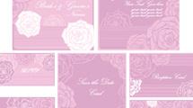 Tarjetas rosadas con flores