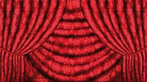 Telón rojo con motivos florales