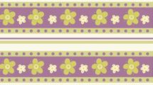 Tiras de flores en verde y violeta