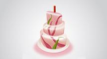 Torta de cumpleaños en tonos rosados