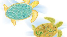 Tortugas marinas de colores
