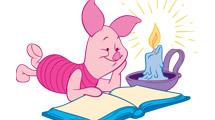 Winnie Pooh: Piglet snetado leyendo con una vela