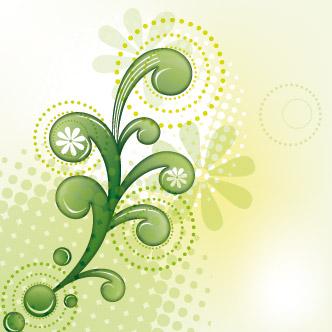 Vector gratis de Swirls verdes abstractos con fondo claro
