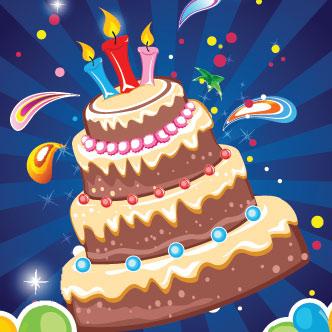 Torta de cumpleaños con tres velas